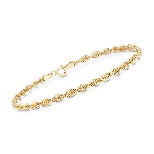 Ross-Simons Italian 14kt Yellow Gold Rope Chain Bracelet ()