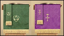 Jacquard Reversible Pulpit Scarf with Cross: Purple/Green...