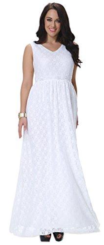 Yacun Women's Swing Bridesmaid Dress Lace Maxi Evening Gown Dresses Plus Size White XL