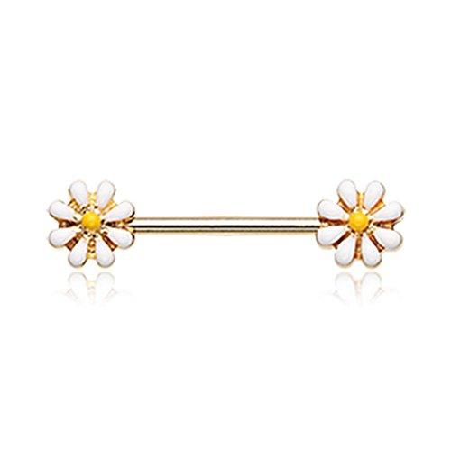 Bazooky Golden Spring Blossom Flower Nipple Barbell Ring (Golden Blossom Breast)