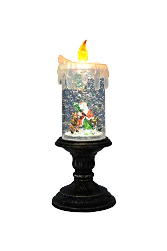 Eldnacele Battery Operated Christmas Lighted Candle with Candle Holder Snowman Water Snow Glitter Flameless Candle Santa Claus and Deer (Santa Water)