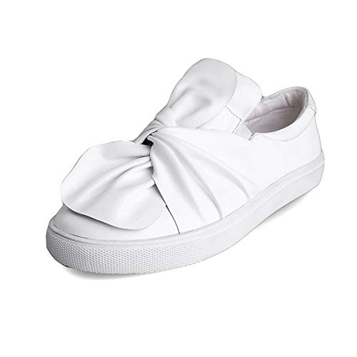 ZHZNVX Zapatos de Mujer Nappa Leather Fall Comfort Sneakers Creepers Blanco/Negro White