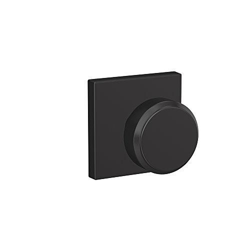 - Schlage Custom FC21 BWE 622 COL Bowery Knob with Collins Trim Hall-Closet and Bed-Bath Lock, Matte Black