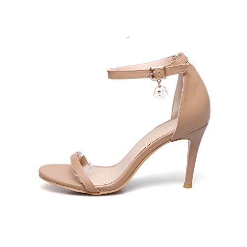 Cinturino Tacco Alla Spillo Marrone Alto A Moda Caviglia Da Con Ye Donna Pelle E Sandali Ygq5xP