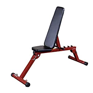 Best Fitness Flat/Incline/Decline Folding Bench, Red