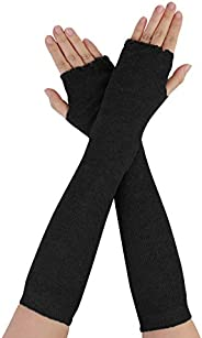 uxcell Women Elbow Length Stretchy Thumbhole Arm Warmer Fingerless Gloves