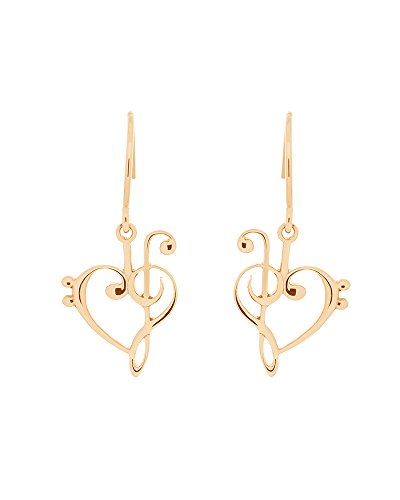 Moore's Jewelers 14k Yellow Gold Plated Treble and Bass Clef Earrings Heart w/French Wire Hooks -