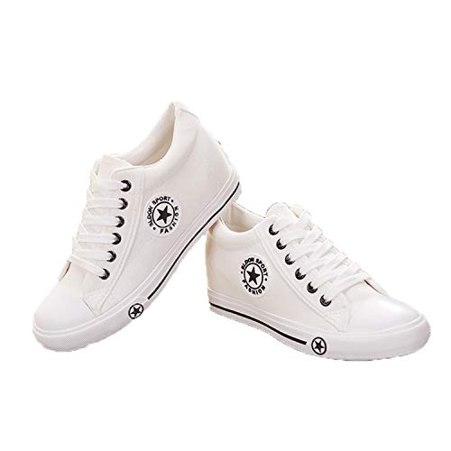 Casual Canvas Lace White Sneakers up Women Summer Shoes Wedges Queixiw Designer Shoes White Star w6SPx6gqY