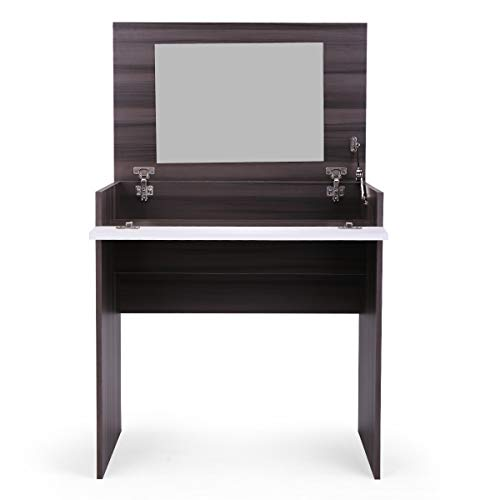 Tobbi Dressing Table w/Flip-Up Mirror and Jewelry Storage Space Chic Dresser Makeup Vanity Table Ebony&White
