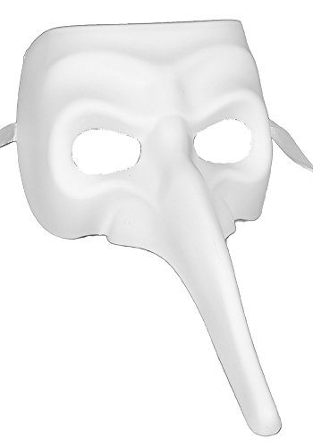 Long Nose Mask Costume (RedSkyTrader Mens Long Nose Joker Gothic White Venetian Mask One Size Fits Most White)