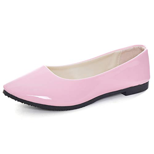 Memorygou Women's PU Leather Casual Work Shoes,Pointy Toe Slip On Elegant Dress Shoes for Uniform