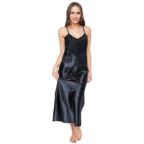 Womens Sleepwear Silk Pajamas Lace Patchwork Nightgown Full Slips Sexy Sling Sleep Dress Black ()