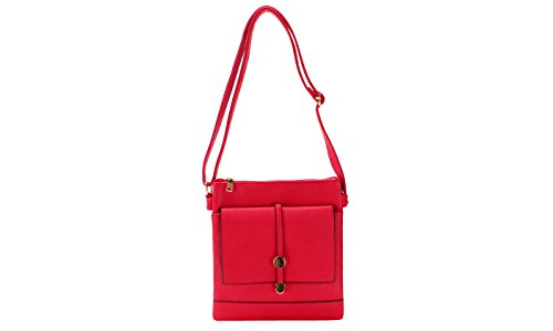 Multi Red Crossbody Compartments Flat Bag gYwdSRSq