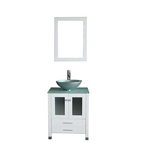 - Walcut 24 inch White Bathroom Vanity and Sink Combo Modern MDF Cabinet with Vanity Mirror Tempered Glass Counter Top Silver Green Glass Bowl Vessel Sink with Faucet and Pop Up Drain