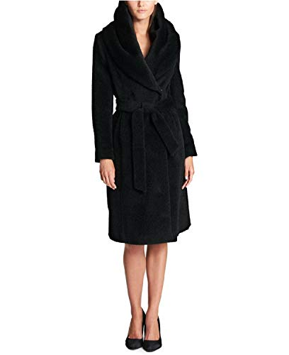 DKNY Shawl Collar Wool Blend Wrap Coat Black