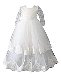 Aorme White Baby-girls Christening Dresses with Bonnet Long Tulle Lace Edge