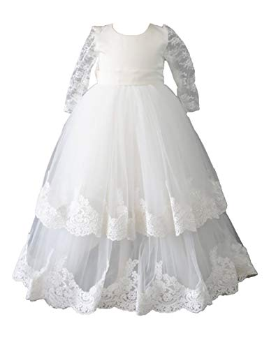 - Aorme Baby Girls Baptism Christening Gown Dress with Bonnet Long Tulle Lace Edge 12M White