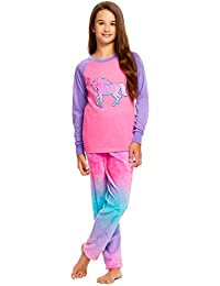 Girls 2 Piece Plush Embroidery Pajama Set   Long Sleeve Top & PJ Pants