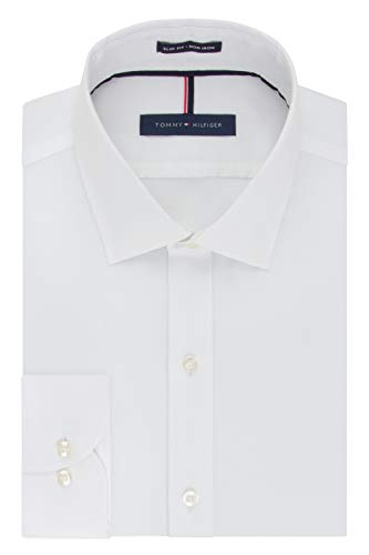 (Tommy Hilfiger Men's Non Iron Slim Fit Solid Spread Collar Dress Shirt, White, 18