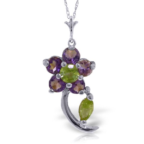 "14K 20"" White Gold Natural Purple Amethyst & Peridot Flower Pendant Necklace"