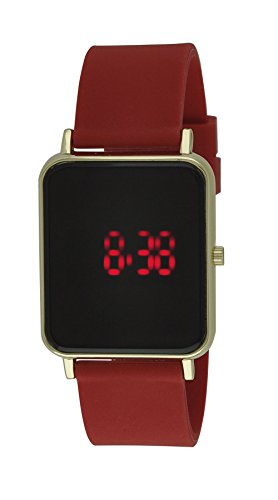 Moulin Unisex Digital One-Touch Silicone Red/Gold Watch #03388.77418