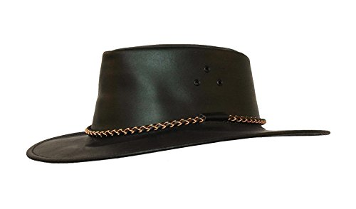 (Australian Echuca Leather Hat from Down Under | Kakadu Traders Traveller Black)