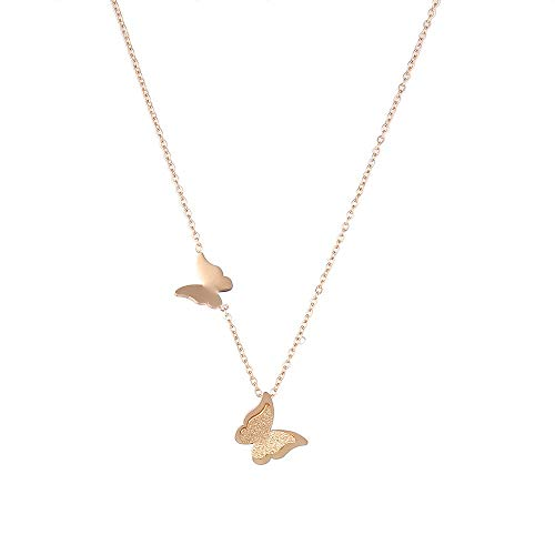 Butterfly Necklace Pendant Titanium Stainless Steel 18K Rose Gold Plated For Girls Women By Promices
