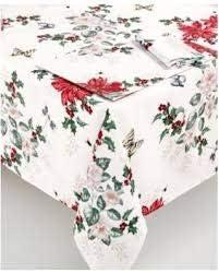 "Lenox Butterfly Meadow Poinsettia 102"" Oblong Tablecloth"