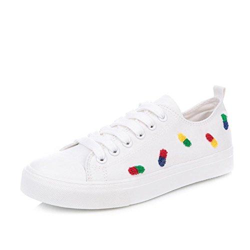 White Sport pour Chaussures Koyi étudiants Girls de Chaussures Sports Femmes Sneakers Espadrilles Up Pompes Casual Lace 4ZWWycd