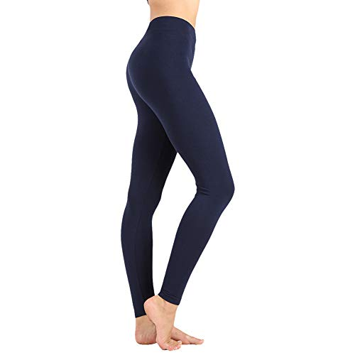 Women's High Waist Leggings-Super Soft Slim Pants -One/Plus Size 20+ Design (04 Navy, One Size (US 2-12))