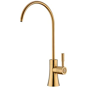 EKRTE Commercial Water Filtration Faucet Lead Free Brass Drinking Water Purifier Faucet, Brushed Gold Beverage Faucet Reverse Osmosis Drinking Water Filter Filtration Faucet