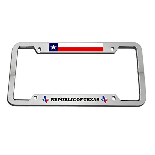 Republic of Texas License Plates Frame, Black License Plate Frame Chrome Screw Caps, 4 Holes Aluminum Metal Auto Car License Plate Cover Holder US Vehicles