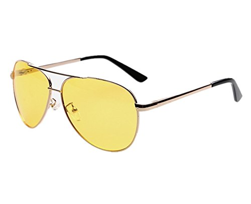 Lorsoul Night View Night Vision Driving Eyewear Glasses Anti Glare Yellow UV400 Aviator Polarized Sports Sunglasses (Golden - It Is Lenses Polarized Worth