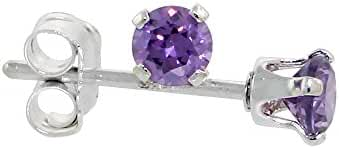 Sterling Silver Cubic Zirconia Amethyst Earrings Studs 3 mm Purple Color 1/4 carat/pair