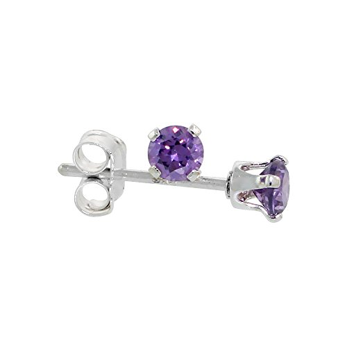 Sterling Silver Zirconia Amethyst Earrings