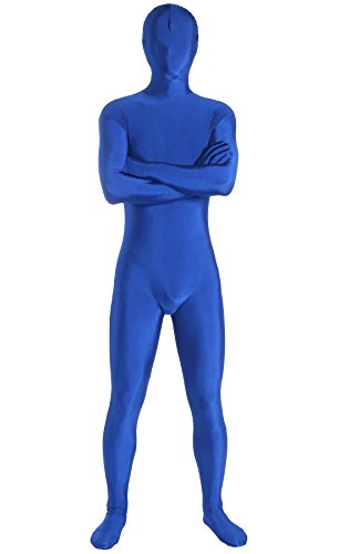 Skin Tight Male Costumes (JustinCostume Adults Spandex Skin-tight Full Bodysuit Zentai Costume, M, Blue)