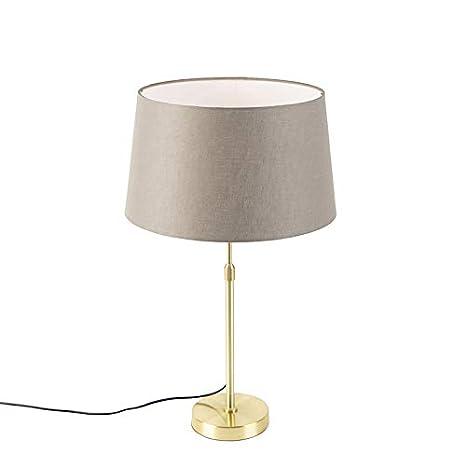QAZQA Rústico Lámpara de mesa dorada pantalla lino taupe ...