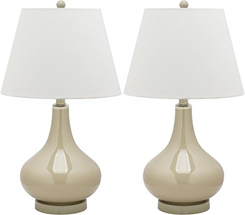 (Safavieh Amy Gourd Glass Lamp, Set of 2, Taupe)