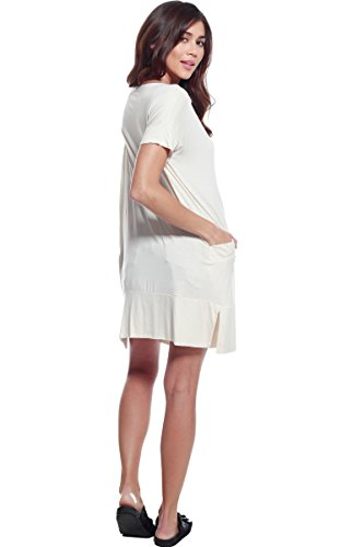 Round Pockets D A w Womens Tunic Cream Midi Casual Dress Neck Shirt ntvpBvxU