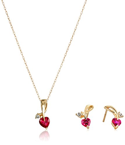 10k Yellow Gold Created Ruby and Diamond Accent Leaf Heart Pendant Necklace and Earrings Jewelry Set, 18