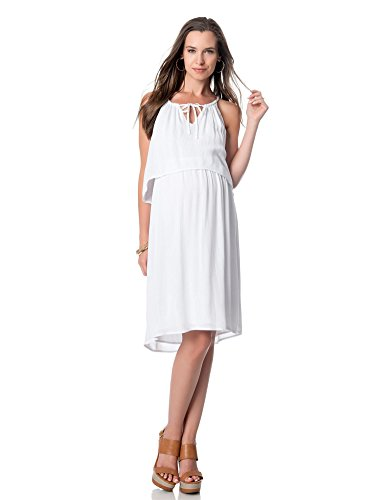 Splendid Sleeveless Tie Front Maternity DressWhiteLarge