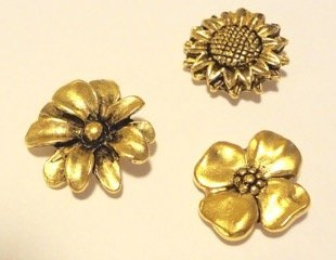 PANSY, SUNFLOWER, DAHLIA SET OF 3 CLUTCH PINS CL-102 AG by NORMA JEAN DESIGNS