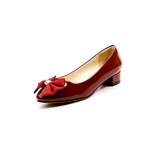 Womens BalaMasa Travel Claret Pumps Solid Shoes Urethane APL11058 Bows d661rq