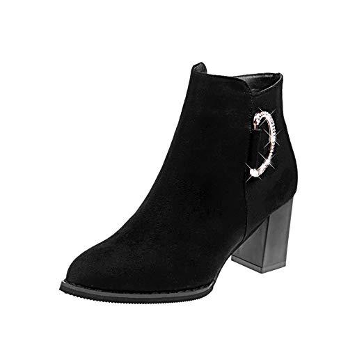 Zapatos Salvaje Otoño Black Con Moda Martin Desnudas Alto E Punta Mujer En Hoesczs Cortas Tacón Botas Gruesos Invierno De xaXqEpU