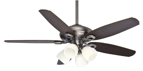 Casablanca 54032 Capistrano Gallery 52-Inch 5-Blade 4-Light Ceiling Fan, Antique Pewter with Smoked Walnut/Medium Chestnut Blades and Cased White Glass Globes