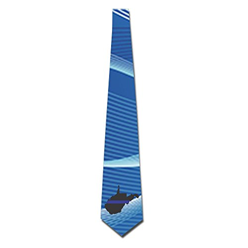 West Virginia Tattered Thin Blue Line Flag Fashion Men's Tie Necktie For Weddings Office Tie