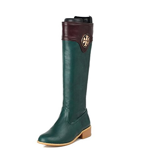 AllhqFashion Womens Low-Heels Soft Material High-top Assorted Color Zipper Boots Green TsQxY2