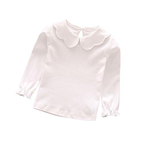 (Butterfly Iron Doll Collar Toddler Baby Girls Long Sleeves T-Shirts Spring Peter Pan Collar Jumper Tops Sweatshirt)