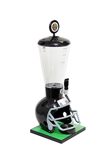 Beer Tubes Black Football Helmet  Beverage Tower Dispenser with Regular Tap, 128 oz. Super Tube, FBK-ST-R (7 Beer Dispenser)