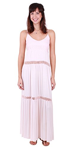 Made In Italy Tiered Maxi Dress with Tie Straps (Pink) ()
